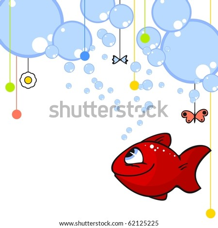 Red fish card (raster version) - stock photo