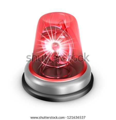 Red flasher icon. Isolated on white - stock photo