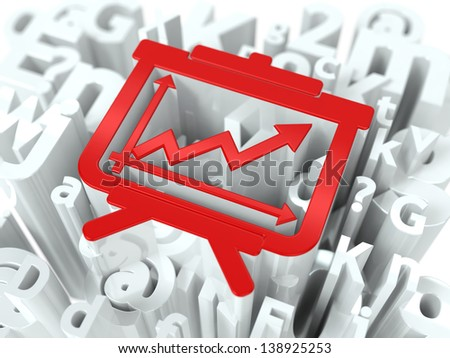 Red Flipchart Simbol on White Alphabet Wordcloud. Education Concept. Background for Your Publication or Blog. - stock photo