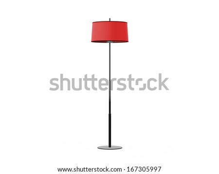 Red floor lamp, isolated on white background. - stock photo