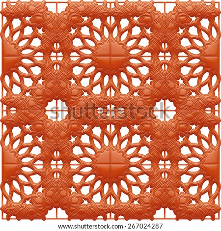 Red floral ornament in 3d - stock photo