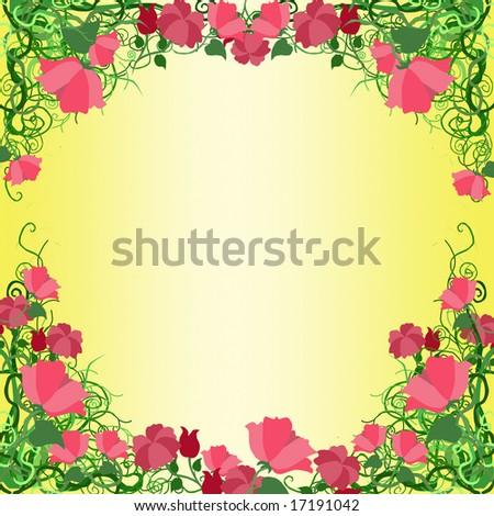 Red flower frame. - stock photo