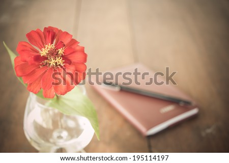 red flower in vase on desk and blown book - stock photo