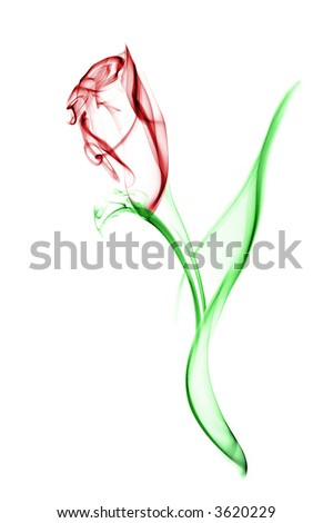 Red flower with green leaves. Image is a careful combination of three separate photographs of smoke. Isolated on a white background. - stock photo
