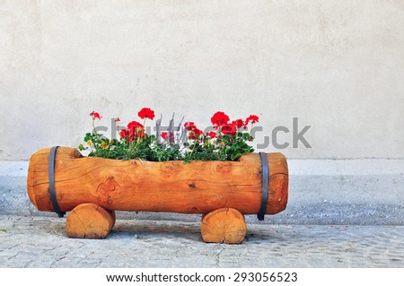 Red flowers in wooden flowerbed on the wall background - stock photo