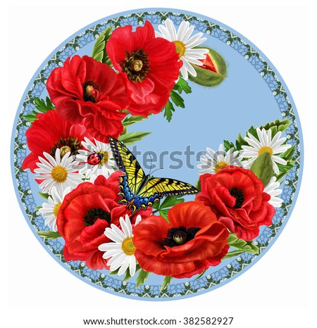 Red flowers poppies, white daisies, butterfly. circle. Round shape. Painting. - stock photo