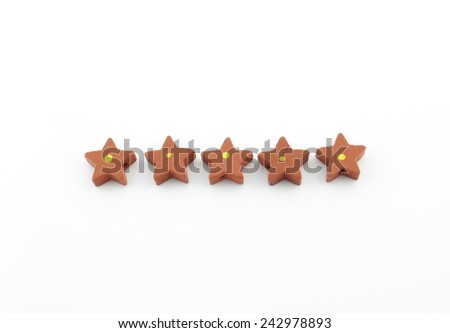 Red foam star gift accessories isolated on white background  - stock photo