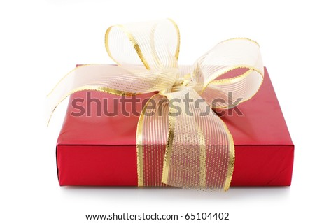 Red foil gift with golden bow isolated on white background. - stock photo