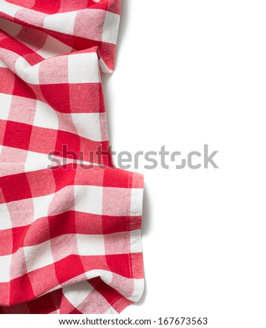 red folded tablecloth isolated on white - stock photo