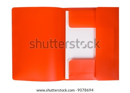 Red folder with paper, isolated on white background - stock photo