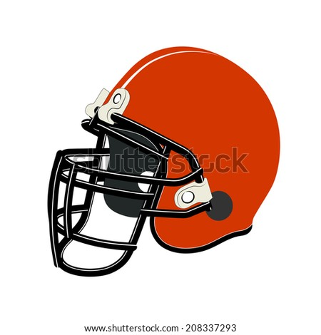 Red football helmet isolated over white background - stock photo