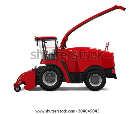 Red Forage Harvester - stock photo