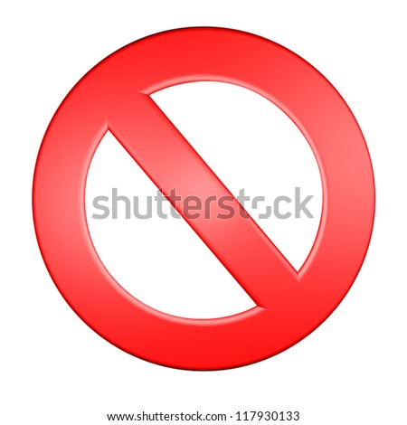 red forbidden sign 3d render illustration - stock photo