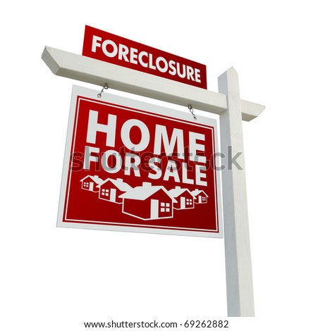 Red Foreclosure Home For Sale Real Estate Sign Isolated on a White Background. - stock photo