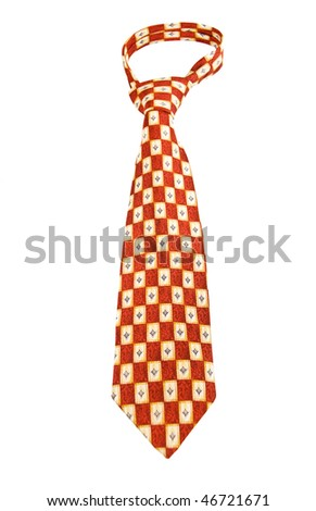 Red Formal Checkered Tie isolated on white - stock photo