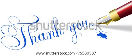 Red fountain pen writes Thank You note words in blue ink - stock photo