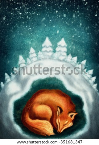 Red fox sleeping in winter forest - stock photo