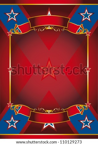 Red frame poster. A large red frame with sunbeams for your message - stock photo