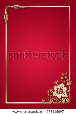 Red frame with golden floral patterns . - stock photo