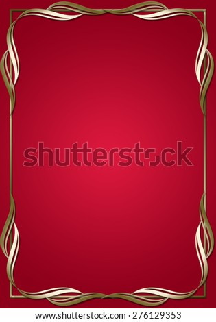 Red frame with golden ornaments. - stock photo
