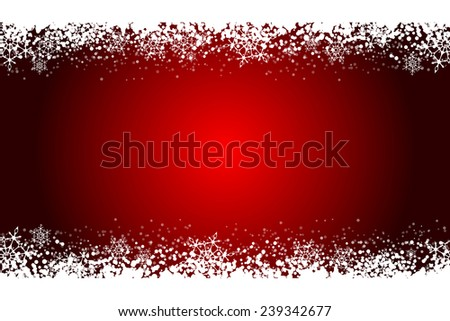 Red frame with snowflakes - stock photo