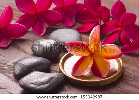 Red frangipani in spa concept  - stock photo
