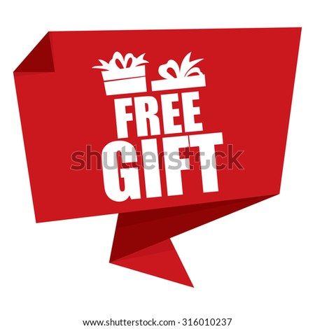 Red Free Gift Paper Origami Speech Bubble or Speech Balloon Infographics Sticker, Label, Sign or Icon Isolated on White Background - stock photo