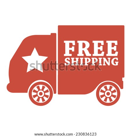 Red free shipping icon, tag, label, badge, sign, sticker isolated on white  - stock photo