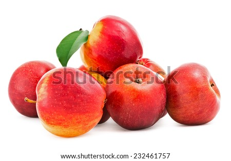 Red fresh apples . Isolation on a white background with clipping paths, increase focus zone folding multiple photos - stock photo