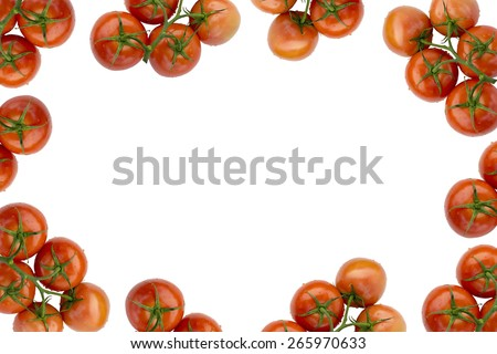 Red Fresh Ripe Stem Tomatoes  Frame Isolated on White Fabric Background - stock photo