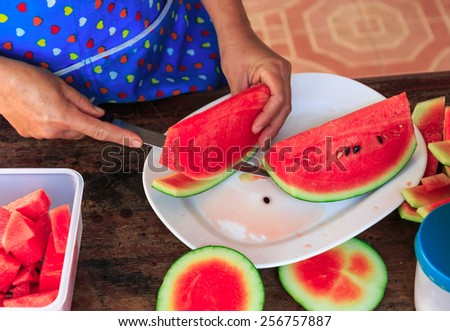 red fresh water melon cut in the Thai kitchen - stock photo