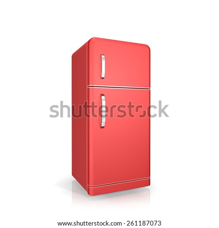 red  fridge on a white background - stock photo