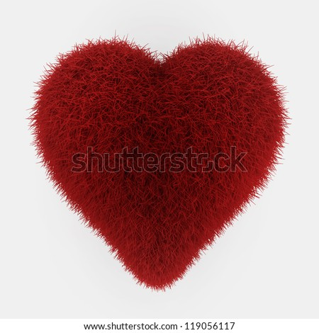 red fur heart - 3d render on white - stock photo