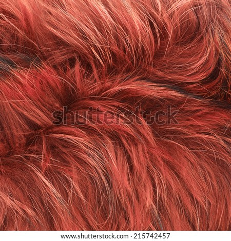 Red fur texture fragment as a background composition - stock photo
