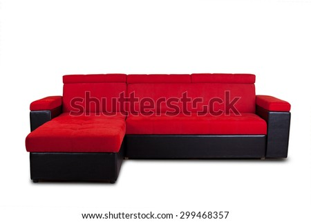 Red furniture isolated on white background (unknown model) - stock photo