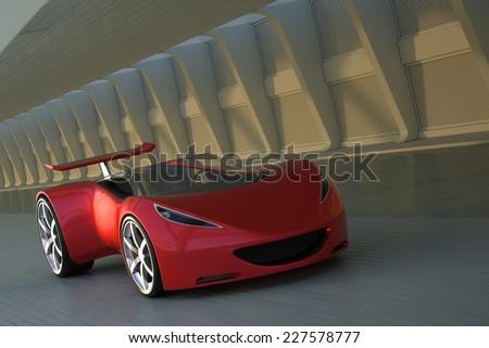 red futuristic concept sport car 3d render - stock photo