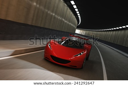 red futuristic concept sport car, 3d render  - stock photo