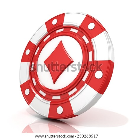 Red gambling chip sign with diamond on it. 3D render isolated on white background - stock photo