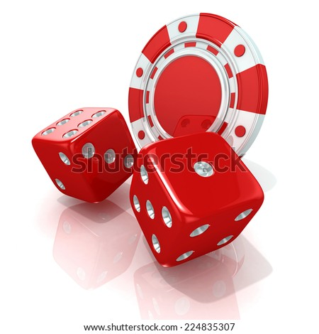 Red gambling chips and dices. 3D render isolated on white - stock photo