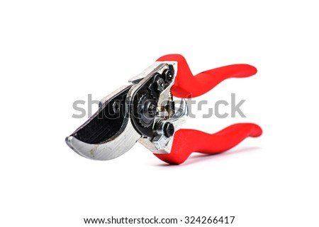 Red garden secateurs isolated on white background, Pruning shears. - stock photo