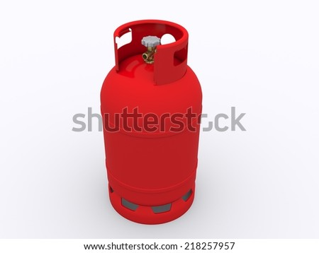 red gas bottle - stock photo