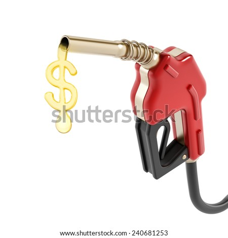 Red gas nozzle with dollar sign gas drop isolated on white background. - stock photo