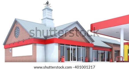 Red gas station isolated on white background. 3D render. Isolated - stock photo