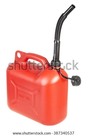 Red Gasoline Container Isolated/ red gasoline container isolated on white - stock photo