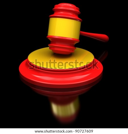 Red gavel on a glossy black surface. - stock photo