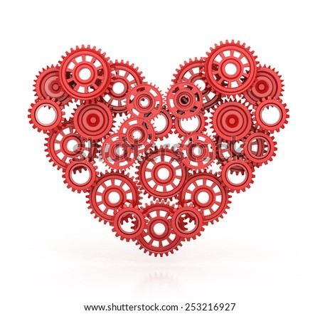 Red Gears in Heart Shape isolated on white background. 3d render - stock photo