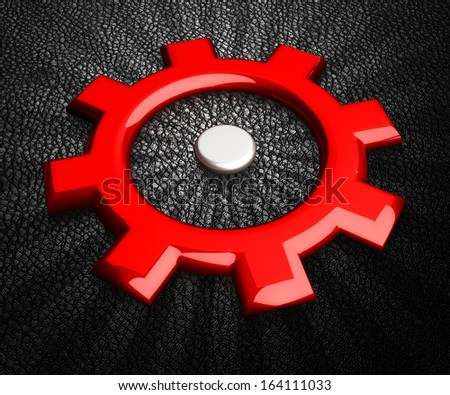 Red gearwheel on black background. Gear icon. - stock photo