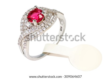 Red Gem and diamond ring jewelry price tag. isolated - stock photo