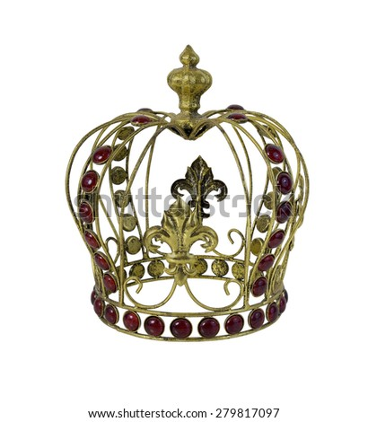 Red Gem Embellished Golden Crown - path included - stock photo