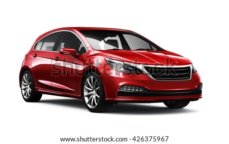 Red generic car - 3D render on white - stock photo